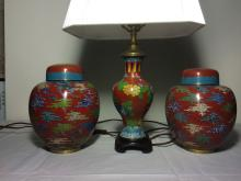 CHINESE CLOISONNE ENAMEL GINGER AND LAMP