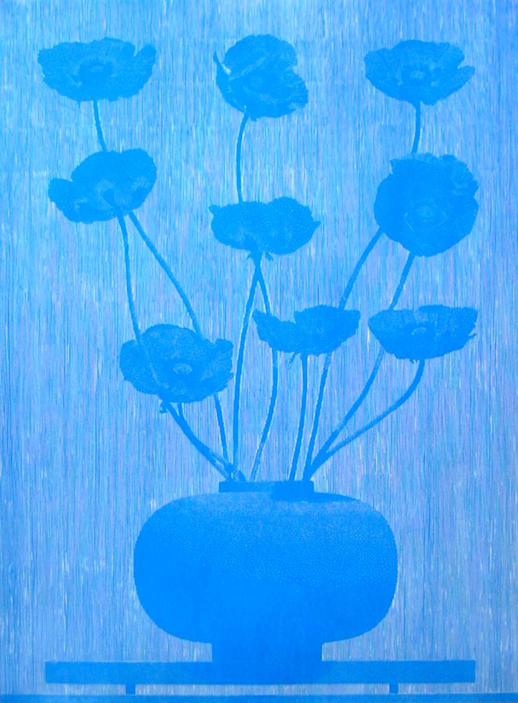 nine blue poppies