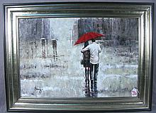 OIL ON CANVAS:  COUPLE WALKING IN RAIN WITH UMBRELLA