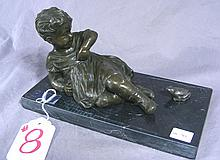 ADORABLE BRONZE SCULPTURE OF CHILD WITH FROG