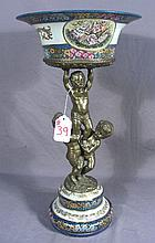 BEAUTIFUL FRENCH PORCELAIN AND BRONZE FIGURAL CENTERPIECE