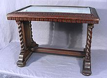 ANTIQUE HAND CARVED WOODEN TABLE WITH GLASS TOP