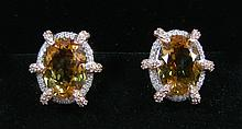 PAIR LADIES 14K WHITE AND ROSE GOLD, CITRINE AND DIAMOND EARRINGS