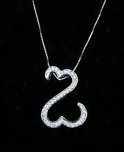 LADIES 14K W.G. & DIAMOND OPEN HEART NECKLACE
