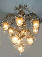 OUTSTANDING BACCARAT STYLE GILT AND CRYSTAL TEN LIGHT CHANDELIER