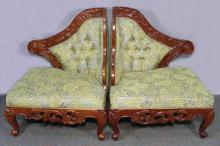 PAIR HAND CARVED MAHOGANY AND UPHOLSTERED CORNER CHAIRS
