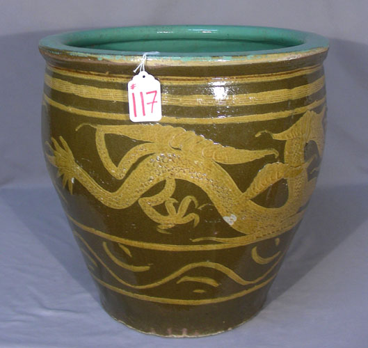 Vintage chinese porcelain fish bowl with dragon design for Chinese fish bowl
