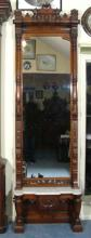 ANTIQUE HAND CARVED FLOOR MIIROR WITH MARBLE SHELF