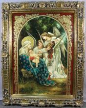 ORIGINAL OIL ON CANVAS:  MOTHER & CHILD WITH ANGELS