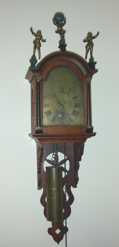 Antique hand carved wooden wall clock for Antique wall clock wood