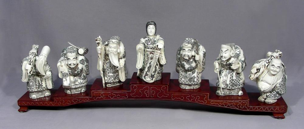 Hand Carved Chinese Bone Figures 7 Lucky Gods On Stand