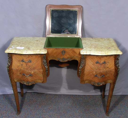 Antiqued Marble Countertops: ANTIQUE FRENCH DRESSING TABLE WITH TWO MARBLE TOPS