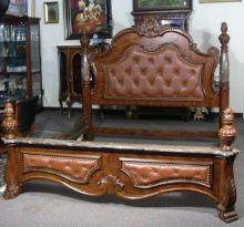 HEAVY CARVED KING SIZE BED WITH TUFTED LEATHER & MARBLE COLUMNS