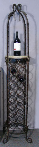 Tall wrought iron floor wine rack with marble shelf - Wine racks wrought iron floor standing ...