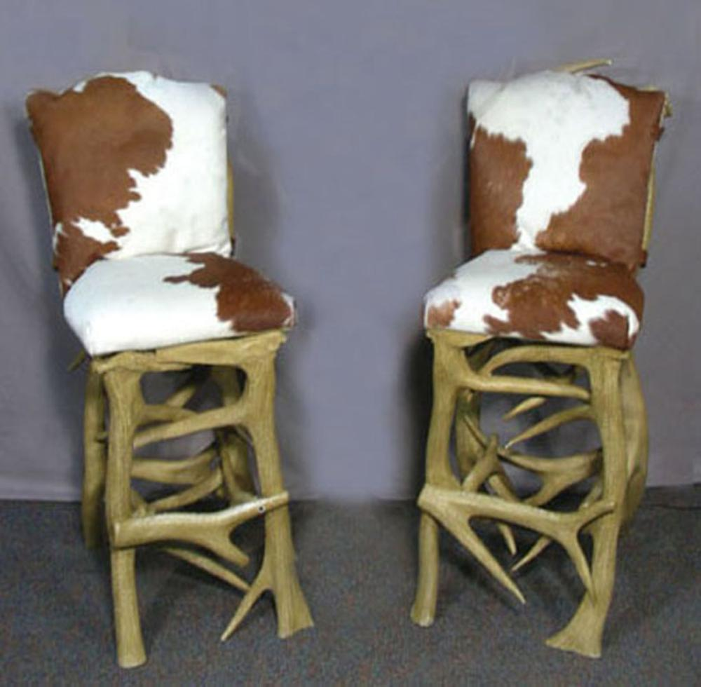 Pair Custom Made Faux Antler Motif And Animal Hide Bar Stool