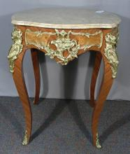 FRENCH WOODEN AND BRONZE ORMOLU TABLE WITH MARBLE TOP