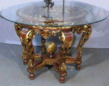 HAND CARVED ITALIAN FOYER TABLE WITH GLASS TOP