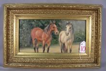 ORIGINAL OIL ON BOARD:  HORSES