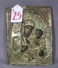 19TH CENTURY HAND PAINTED RUSSIAN ICON