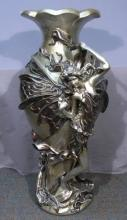 LARGE COMPOSITION VASE WITH APPLIED BUTTERFLY GIRL