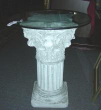 HEAVY ORNATE CEMENT PEDESTAL WITH GLASS TOP