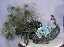 BEAUTIFUL PEACOCK MOTIF FAUX FLOWER ARRANGEMENT