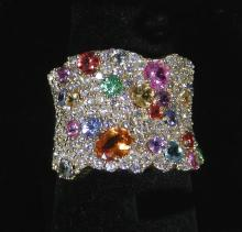 LADIES 14K Y.G.,  MULTI COLORED SAPPHIRE AND DIAMOND RING
