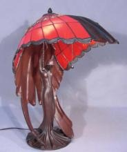 ART NOVEAU STYLE METAL AND LEADED GLASS FIGURAL TABLE LAMP