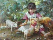 ADORABLE ORIGINAL OIL ON CANVAS:  YOUNG GIRL FEEDING PIGS