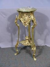 ORNATE GILT METAL PEDESTAL WITH MARBLE TOP