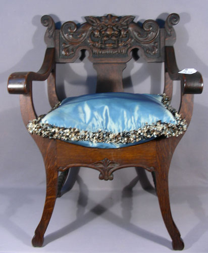 antique hand carved wooden sleigh chair