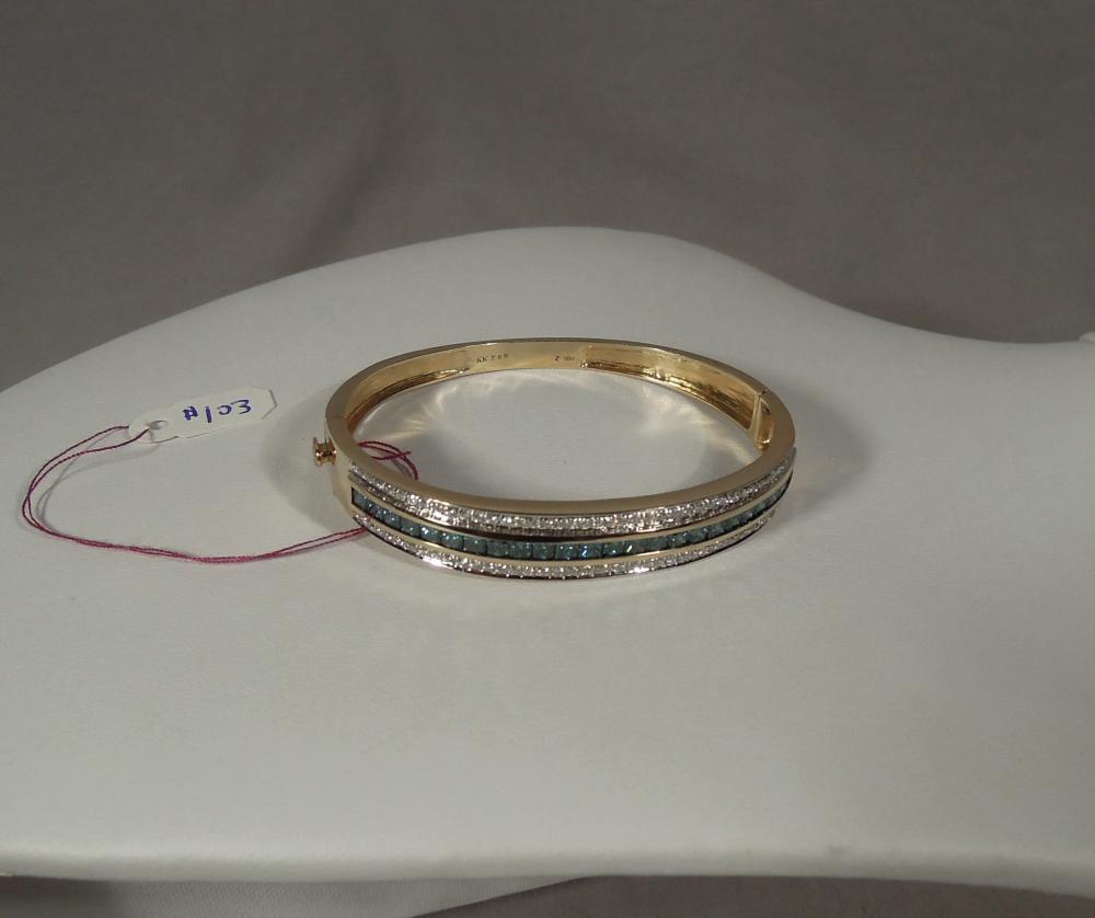 LADIES 14K YELLOW GOLD, BLUE & WHITE DIAMOND BANGLE BRACELET