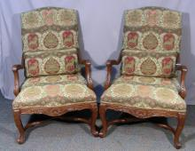 PAIR HAND CARVED WOOD AND UPHOLSTERED ARMCHAIRS