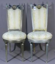 PAIR HAND CARVED WOOD AND UPHOLSTERED SIDE CHAIRS