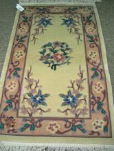CHINESE AUBUSSON HAND KNOTTED AREA RUG