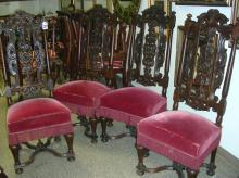SET OF FOUR ANTIQUE HAND CARVED AND UPHOLSTERED CHAIRS