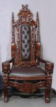HAND CARVED MAHOGANY AND LEATHER ROYALTY CHAIR