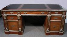 VERY FINE HAND CARVED AND INLAID DESK WITH LEATHER TOP