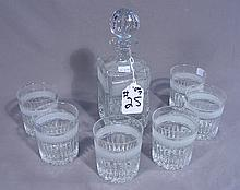 SEVEN PIECE CUT AND ETCHED CRYSTAL DECANTER SET