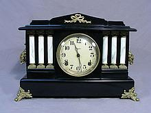 OLD WOOD AND ORMOLU MATLE CLOCK