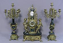 FRENCH STYLE THREE PIECE MARBLE AND ORMOLU CLOCK SET