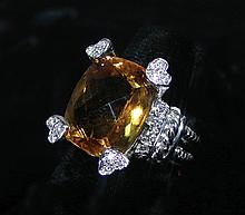 LADIES 18K WHITE GOLD, CITRINE AND DIAMOND RING