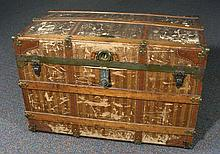 LARGE ANTIQUE LUGGAGE TRUNK BY HASKEL BROS. MANUFACTURES, CHICAGO, USA