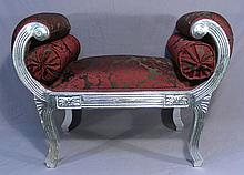 ITALIAN CARVED WOOD AND UPHOLSTERED WINDOW BENCH