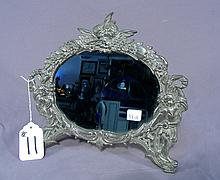 FINE ANTIQUE METAL FIGURAL VANITY MIRROR