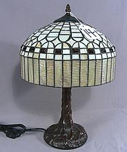 FINE METAL AND LEADED GLASS TABLE LAMP