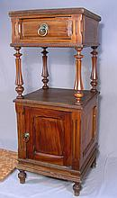 ANTIQUE HAND CARVED WOODEN DOUBLE TIERED SIDE CABINET WITH MARBLE TOP