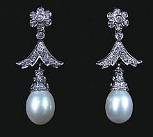 LADIES 14K WHITE GOLD, PEARL AND DIAMOND EARRINGS