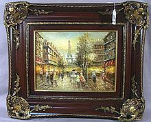 OIL ON CANVAS:  PARISIAN STREET SCENE