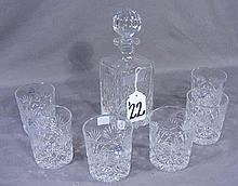 SEVEN PIECE EUROPEAN CUT CRYSTAL DECANTER SET